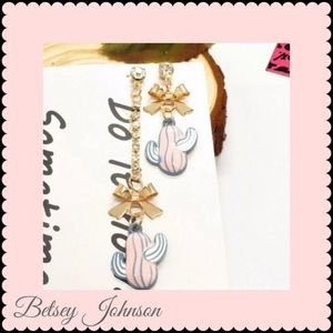 NWT Betsey Johnson Pink Enamel Cactus Bow Earrings